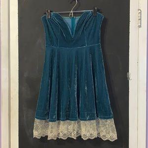 Teal/Turquoise Strapless Mini Dress